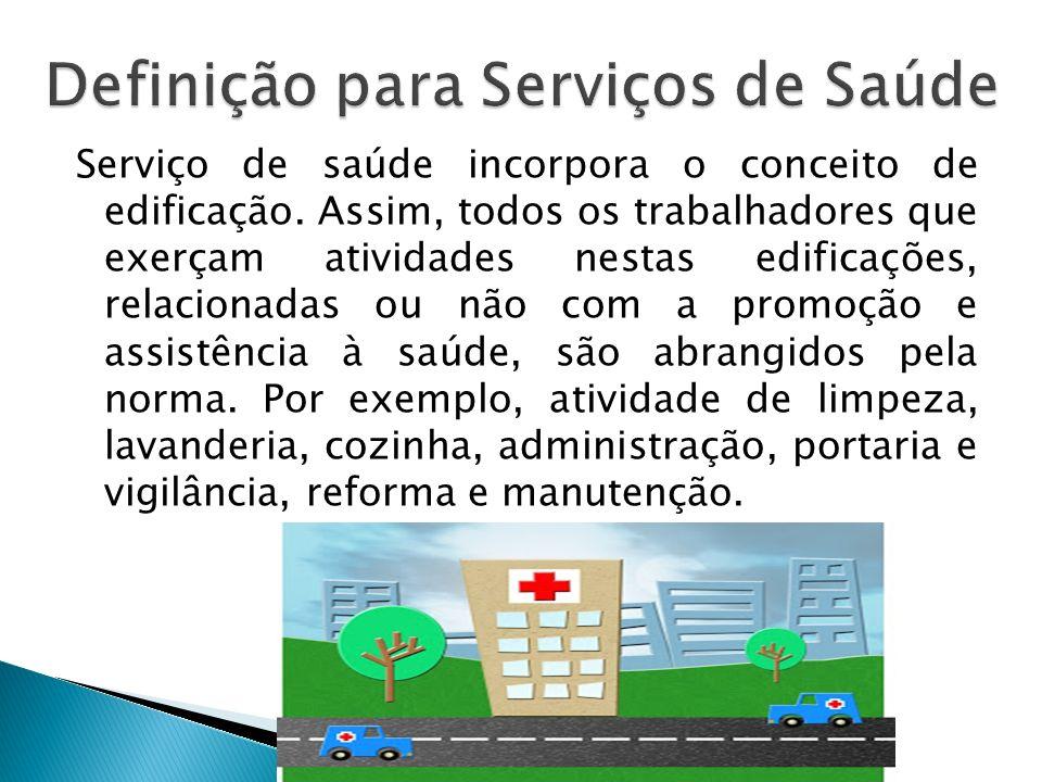 Serviço de saúde incorpora o conceito de edificação.