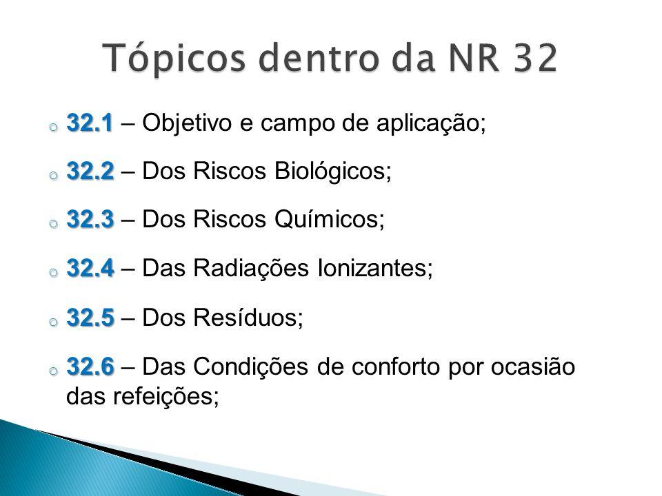 o 32.1 o 32.1 – Objetivo e campo de aplicação; o 32.2 o 32.2 – Dos Riscos Biológicos; o 32.3 o 32.3 – Dos Riscos Químicos; o 32.4 o 32.4 – Das Radiações Ionizantes; o 32.5 o 32.5 – Dos Resíduos; o 32.6 o 32.6 – Das Condições de conforto por ocasião das refeições;