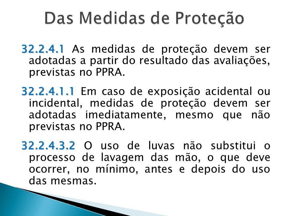 32.2.4.1 32.2.4.1 As medidas de proteção devem ser adotadas a partir do resultado das avaliações, previstas no PPRA.