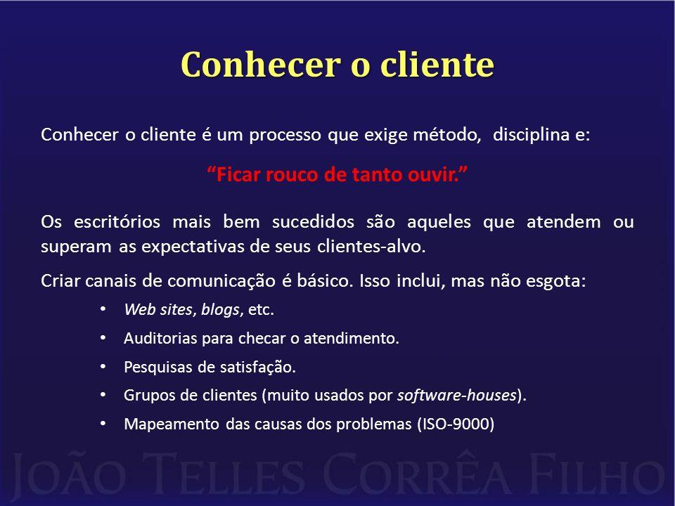 Conhecer o cliente Conhecer o cliente é um processo que exige método, disciplina e: Ficar rouco de tanto ouvir.