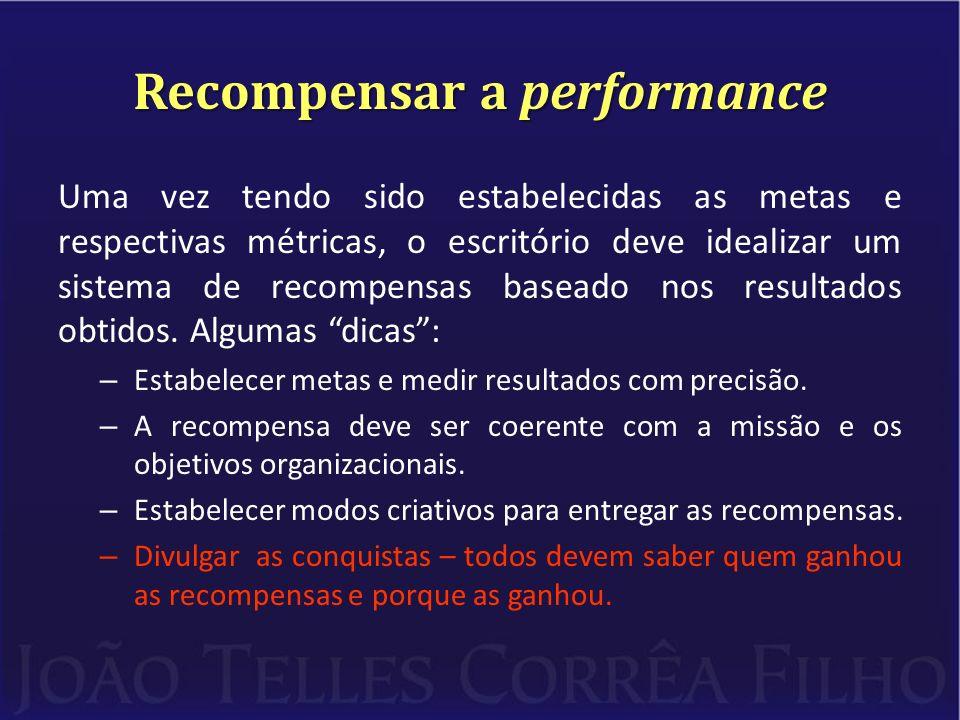 Recompensar a performance Uma vez tendo sido estabelecidas as metas e respectivas métricas, o escritório deve idealizar um sistema de recompensas baseado nos resultados obtidos.