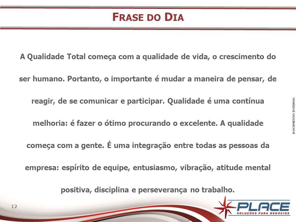 DOCUMENTO INTERNO 12 F RASE DO D IA A Qualidade Total começa com a qualidade de vida, o crescimento do ser humano.