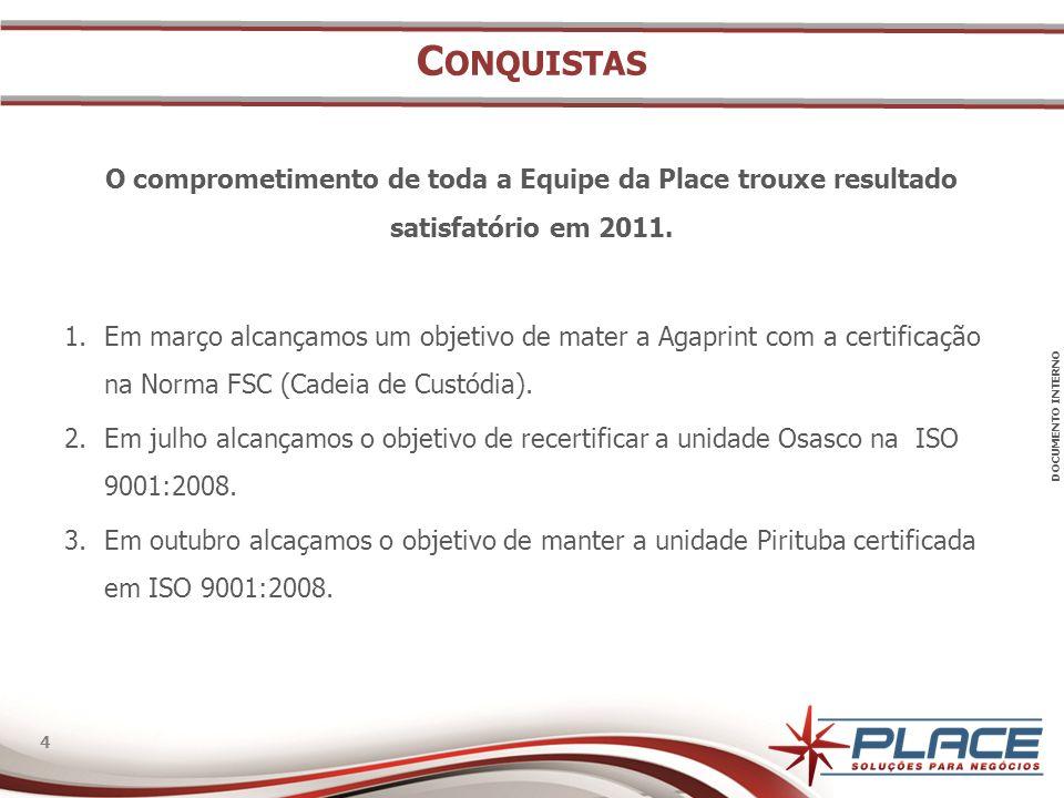 DOCUMENTO INTERNO 4 4 C ONQUISTAS O comprometimento de toda a Equipe da Place trouxe resultado satisfatório em 2011.