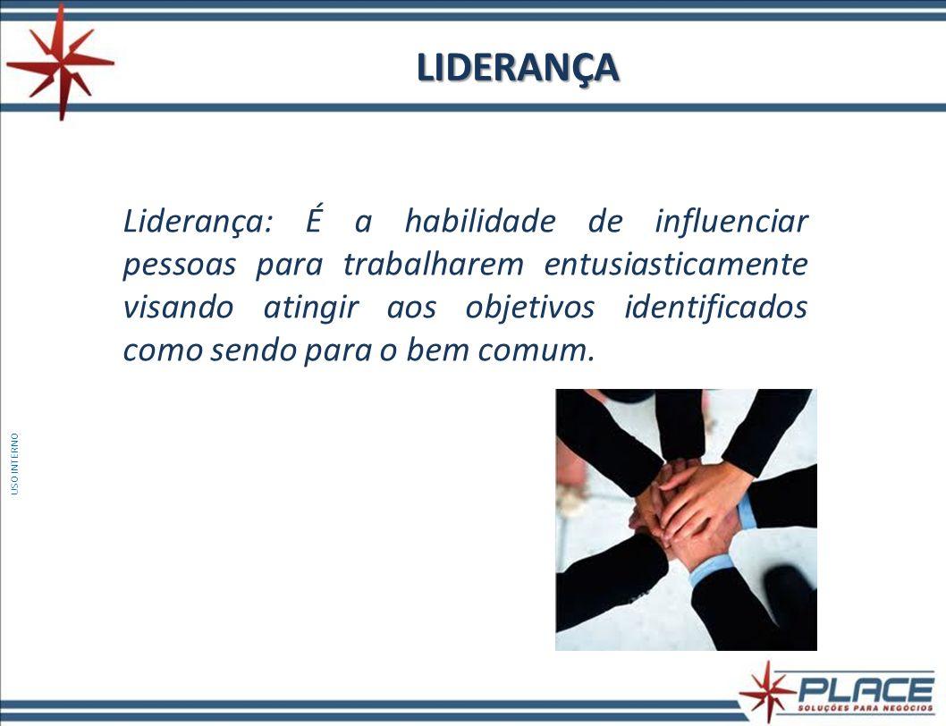 LIDERANÇA Liderança: É a habilidade de influenciar pessoas para trabalharem entusiasticamente visando atingir aos objetivos identificados como sendo p