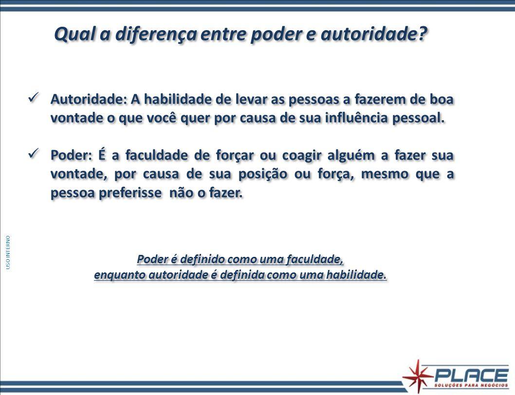 Qual a diferença entre poder e autoridade? Autoridade: A habilidade de levar as pessoas a fazerem de boa vontade o que você quer por causa de sua infl