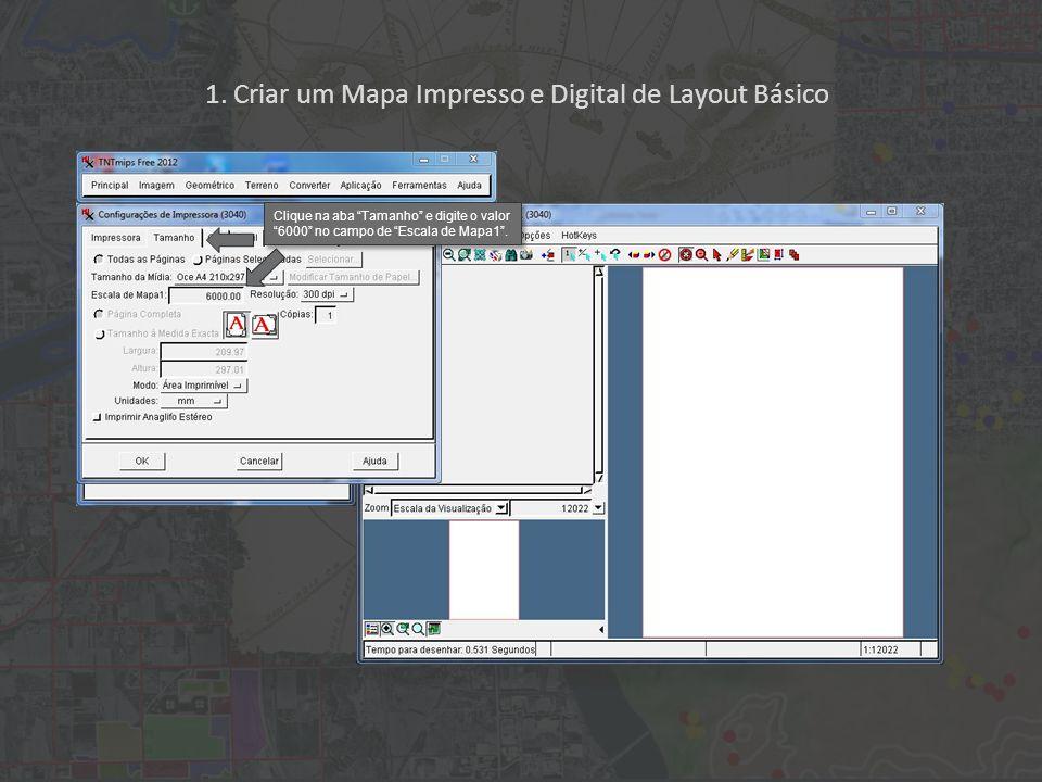 1. Criar um Mapa Impresso e Digital de Layout Básico Clique na aba Tamanho e digite o valor 6000 no campo de Escala de Mapa1.
