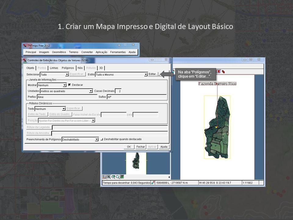 1. Criar um Mapa Impresso e Digital de Layout Básico Na aba Polígonos, clique em Editar....