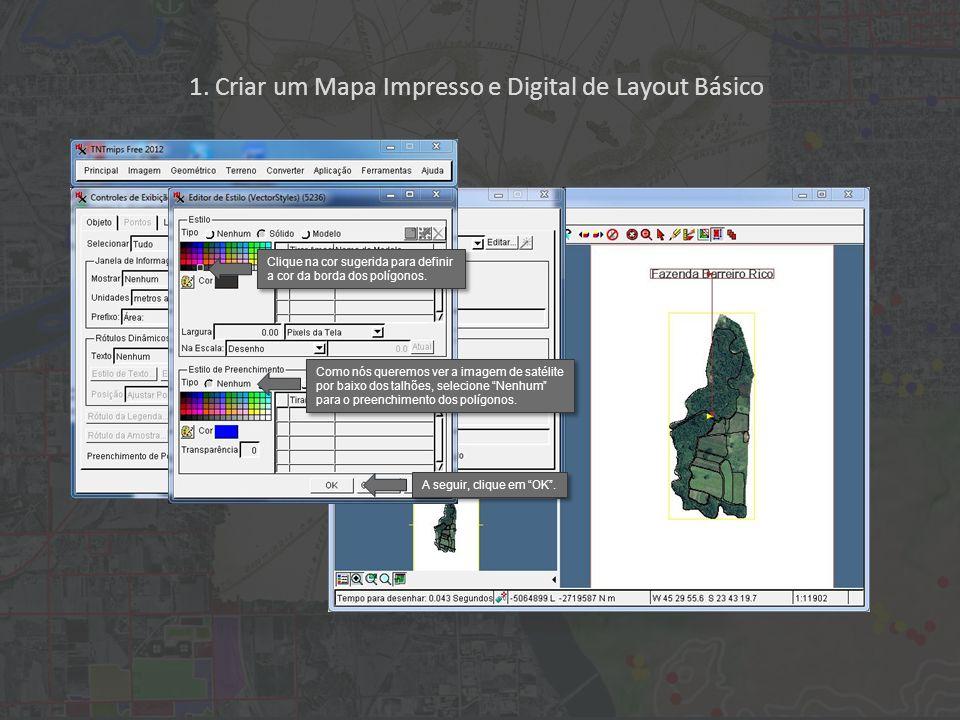1. Criar um Mapa Impresso e Digital de Layout Básico Clique na cor sugerida para definir a cor da borda dos polígonos. Como nós queremos ver a imagem