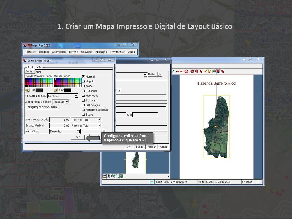 1. Criar um Mapa Impresso e Digital de Layout Básico Configure o estilo conforme sugerido e clique em OK.