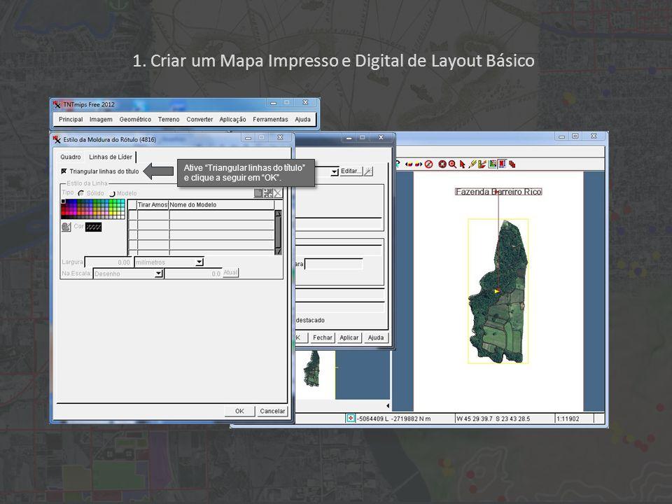 1. Criar um Mapa Impresso e Digital de Layout Básico Ative Triangular linhas do título e clique a seguir em OK.