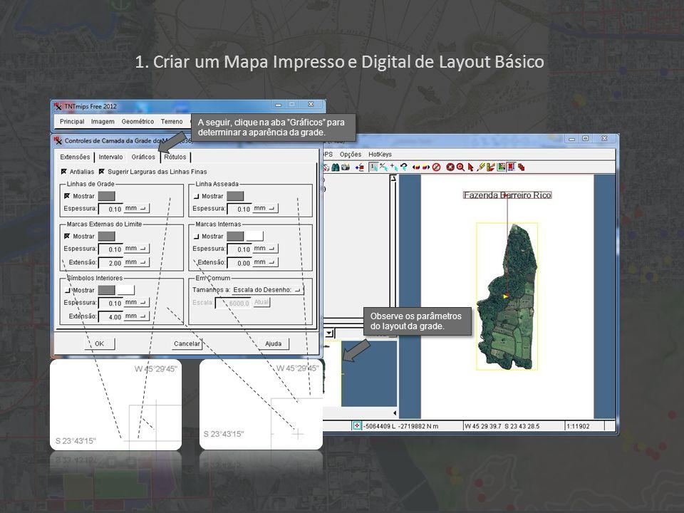 1. Criar um Mapa Impresso e Digital de Layout Básico A seguir, clique na aba Gráficos para determinar a aparência da grade. Observe os parâmetros do l