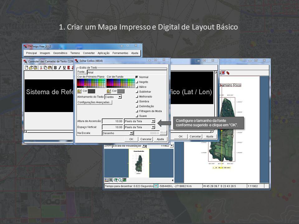 1. Criar um Mapa Impresso e Digital de Layout Básico Configure o tamanho da fonte conforme sugerido e clique em OK.