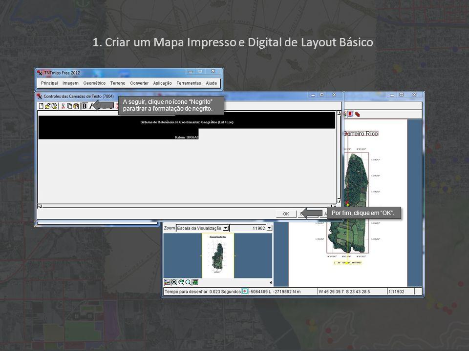 1. Criar um Mapa Impresso e Digital de Layout Básico A seguir, clique no ícone Negrito para tirar a formatação de negrito. Por fim, clique em OK.