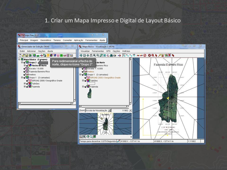 1. Criar um Mapa Impresso e Digital de Layout Básico Para redimensionar a flecha de norte, clique no ícone Grupo 2.