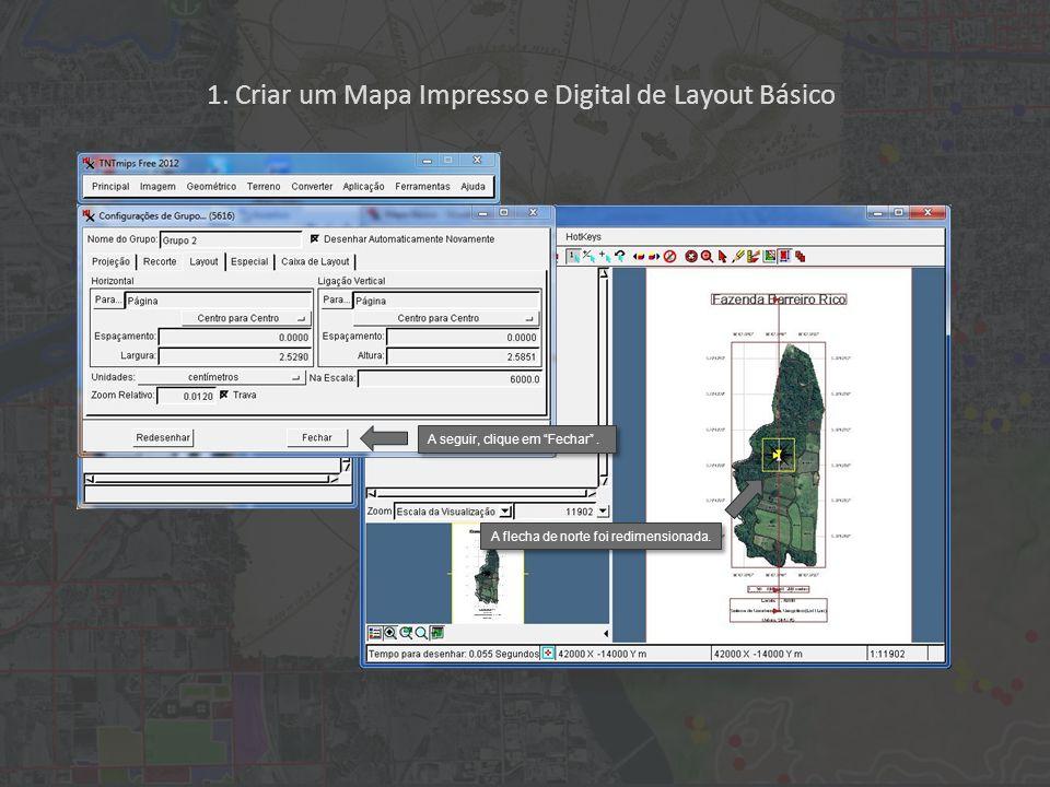 1. Criar um Mapa Impresso e Digital de Layout Básico A flecha de norte foi redimensionada. A seguir, clique em Fechar.