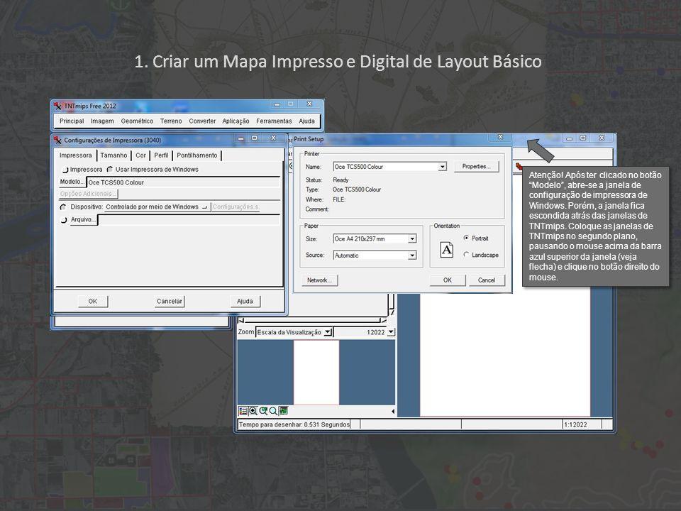 1. Criar um Mapa Impresso e Digital de Layout Básico Atenção! Após ter clicado no botão Modelo, abre-se a janela de configuração de impressora de Wind