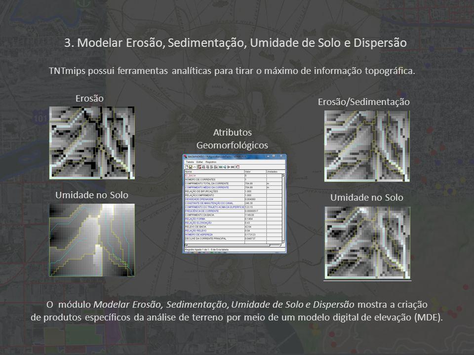 O módulo Modelar Erosão, Sedimentação, Umidade de Solo e Dispersão mostra a criação de produtos específicos da análise de terreno por meio de um modelo digital de elevação (MDE).