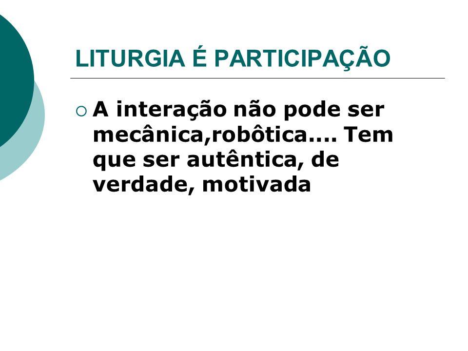 LITURGIA É PARTICIPAÇÃO A interação não pode ser mecânica,robôtica.... Tem que ser autêntica, de verdade, motivada