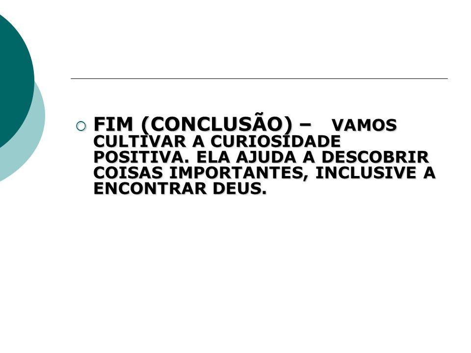 FIM (CONCLUSÃO) – VAMOS CULTIVAR A CURIOSIDADE POSITIVA. ELA AJUDA A DESCOBRIR COISAS IMPORTANTES, INCLUSIVE A ENCONTRAR DEUS. FIM (CONCLUSÃO) – VAMOS