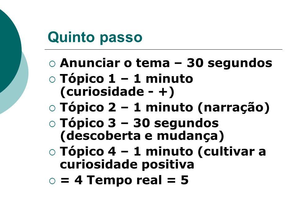 Quinto passo Anunciar o tema – 30 segundos Tópico 1 – 1 minuto (curiosidade - +) Tópico 2 – 1 minuto (narração) Tópico 3 – 30 segundos (descoberta e m