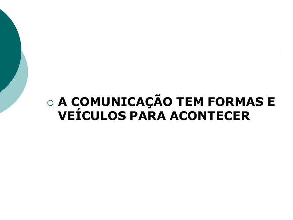 A COMUNICAÇÃO TEM FORMAS E VEÍCULOS PARA ACONTECER
