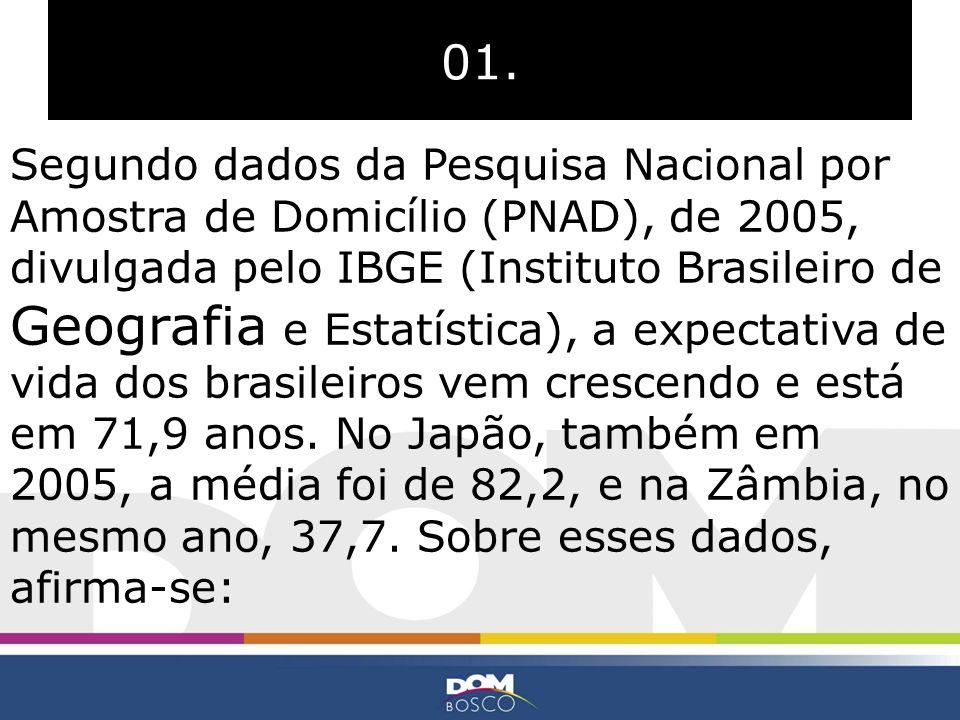 01. Segundo dados da Pesquisa Nacional por Amostra de Domicílio (PNAD), de 2005, divulgada pelo IBGE (Instituto Brasileiro de Geografia e Estatística)