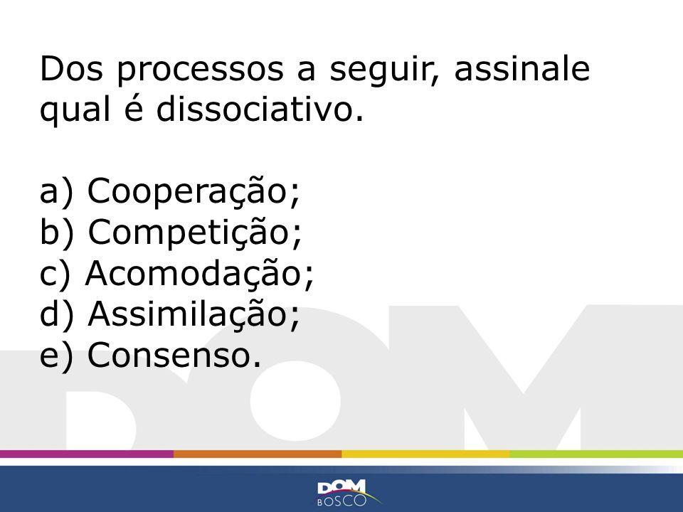 Dos processos a seguir, assinale qual é dissociativo. a) Cooperação; b) Competição; c) Acomodação; d) Assimilação; e) Consenso.