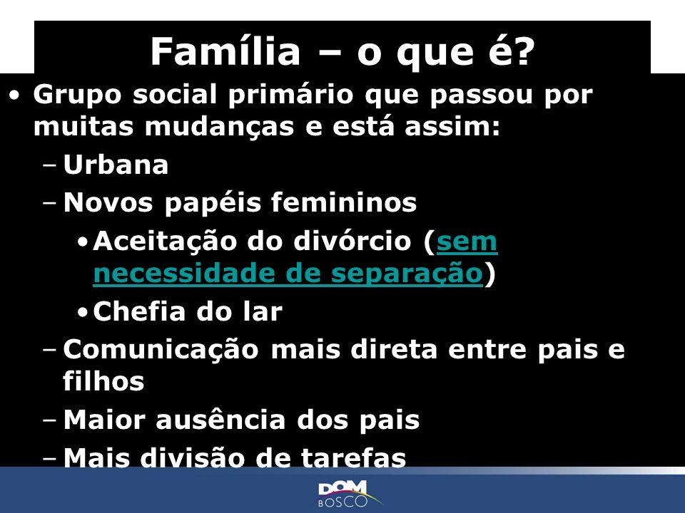 Grupo social primário que passou por muitas mudanças e está assim: –Urbana –Novos papéis femininos Aceitação do divórcio (sem necessidade de separação