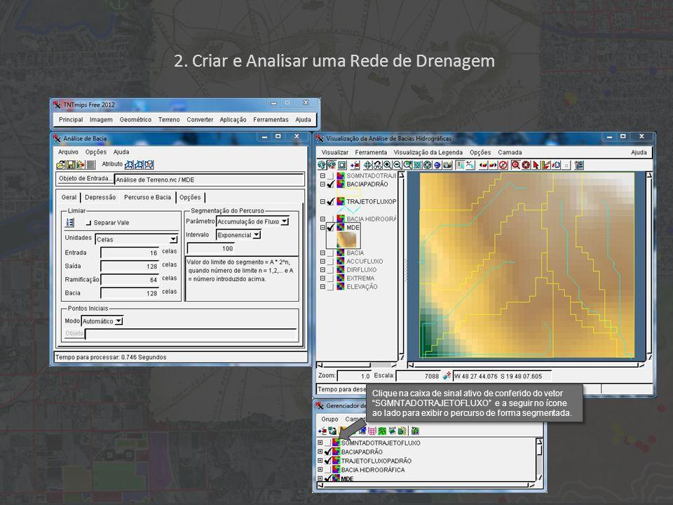 Clique na caixa de sinal ativo de conferido do vetor SGMNTADOTRAJETOFLUXO e a seguir no ícone ao lado para exibir o percurso de forma segmentada.