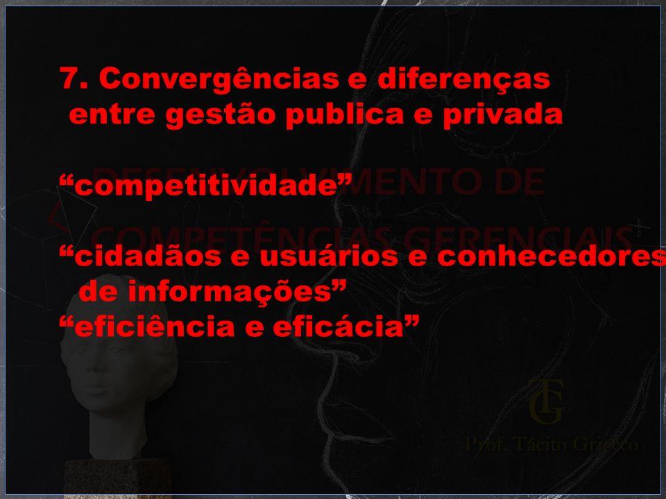 7. Convergências e diferenças entre gestão publica e privada competitividade cidadãos e usuários e conhecedores de informações eficiência e eficácia