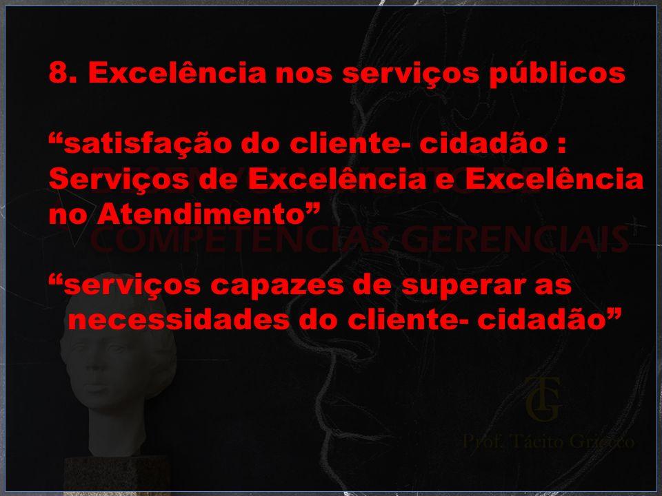 8. Excelência nos serviços públicos satisfação do cliente- cidadão : Serviços de Excelência e Excelência no Atendimento serviços capazes de superar as