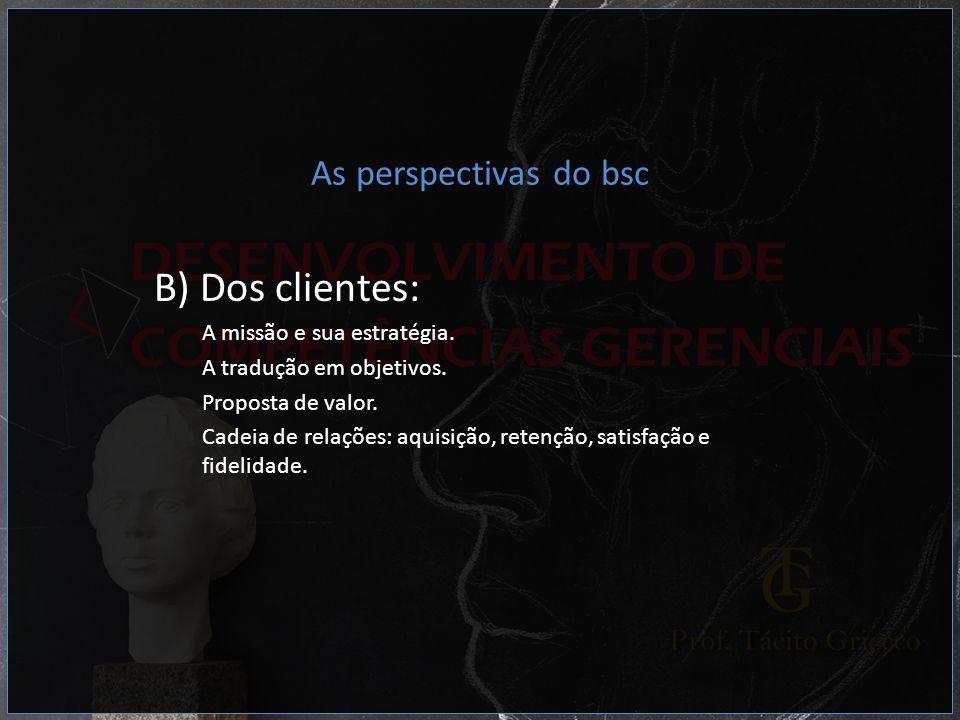 As perspectivas do bsc B) Dos clientes: A missão e sua estratégia. A tradução em objetivos. Proposta de valor. Cadeia de relações: aquisição, retenção