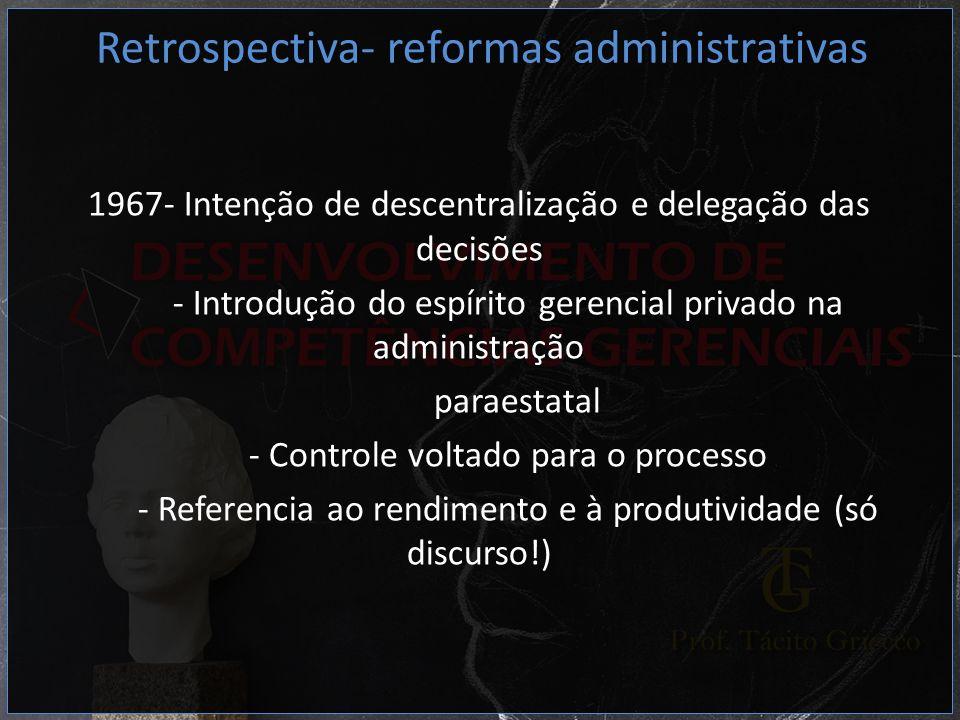 1967- Intenção de descentralização e delegação das decisões - Introdução do espírito gerencial privado na administração paraestatal - Controle voltado