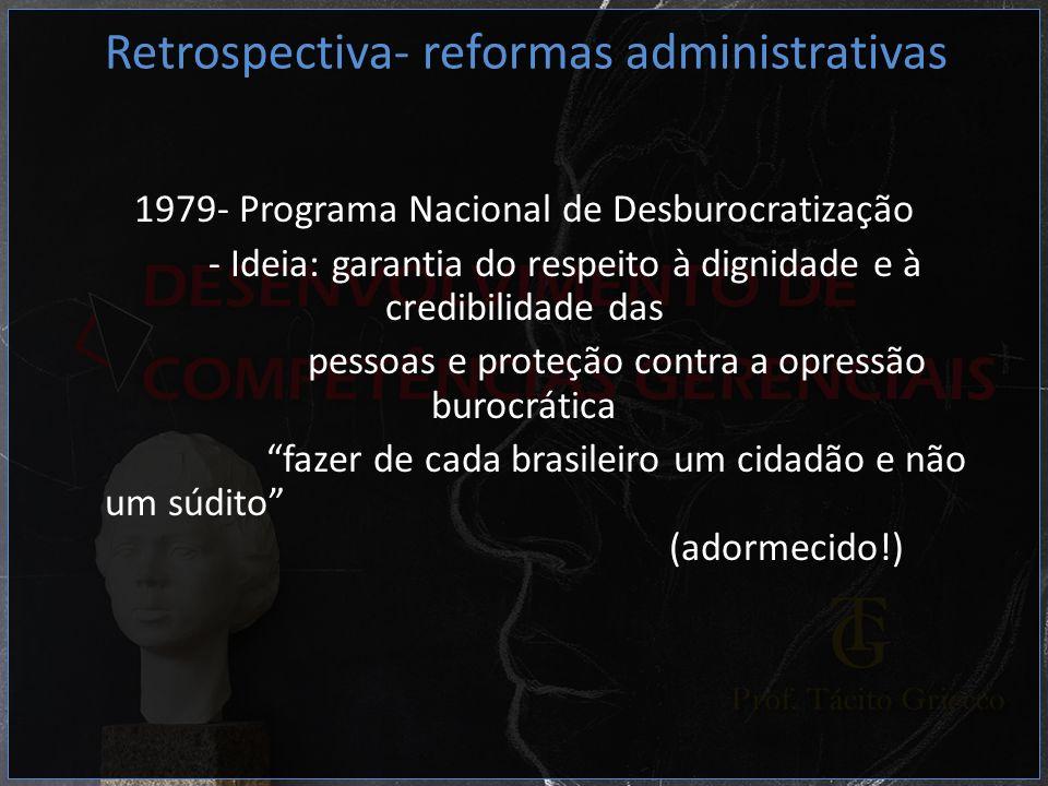 1979- Programa Nacional de Desburocratização - Ideia: garantia do respeito à dignidade e à credibilidade das pessoas e proteção contra a opressão buro