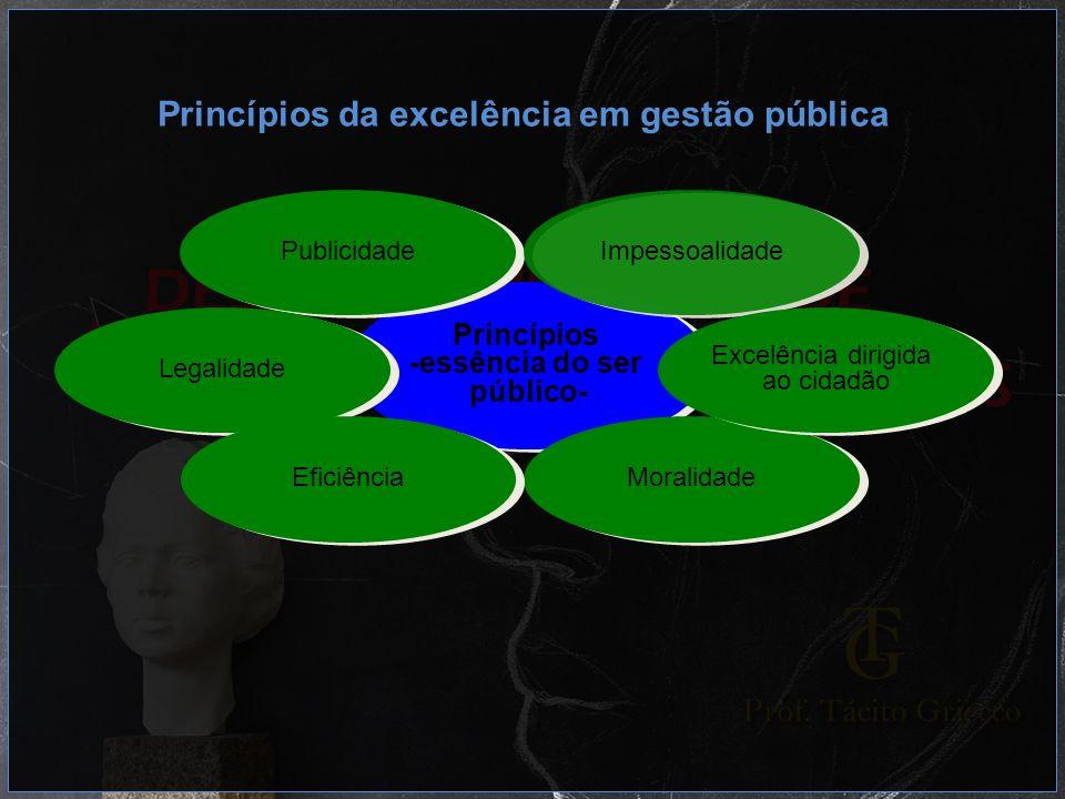 Princípios -essência do ser público- Princípios -essência do ser público- Publicidade Legalidade Impessoalidade Moralidade Eficiência Excelência dirig
