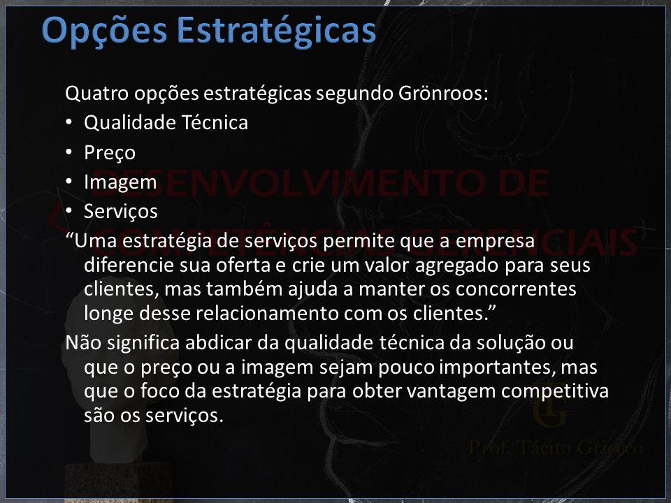 Quatro opções estratégicas segundo Grönroos: Qualidade Técnica Preço Imagem Serviços Uma estratégia de serviços permite que a empresa diferencie sua o