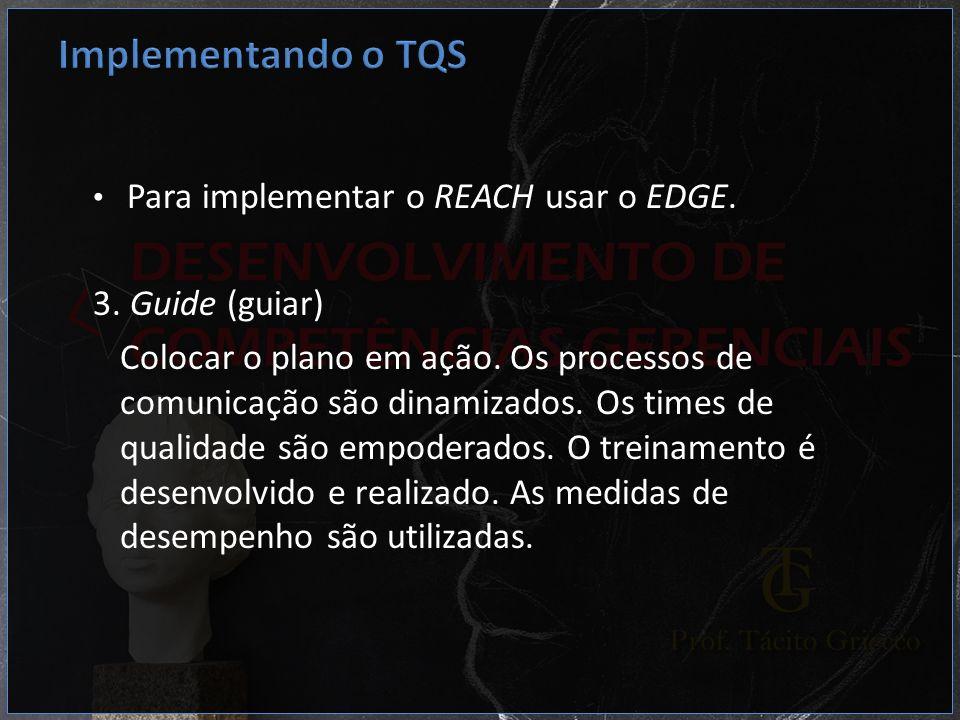 Para implementar o REACH usar o EDGE. 3. Guide (guiar) Colocar o plano em ação. Os processos de comunicação são dinamizados. Os times de qualidade são