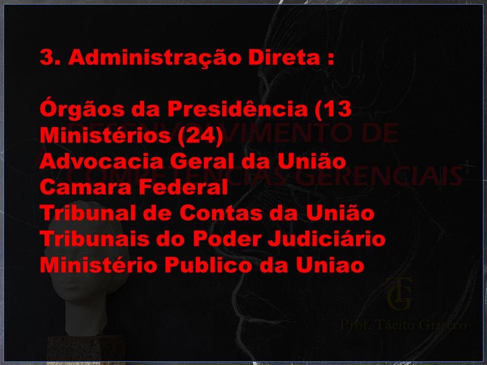 3. Administração Direta : Órgãos da Presidência (13 Ministérios (24) Advocacia Geral da União Camara Federal Tribunal de Contas da União Tribunais do