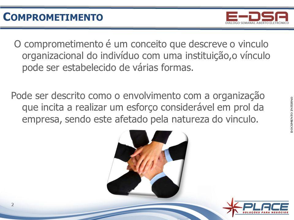 DOCUMENTO INTERNO 2 2 C OMPROMETIMENTO O comprometimento é um conceito que descreve o vinculo organizacional do indivíduo com uma instituição,o vínculo pode ser estabelecido de várias formas.
