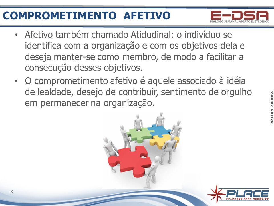 DOCUMENTO INTERNO 3 3 Afetivo também chamado Atidudinal: o indivíduo se identifica com a organização e com os objetivos dela e deseja manter-se como membro, de modo a facilitar a consecução desses objetivos.