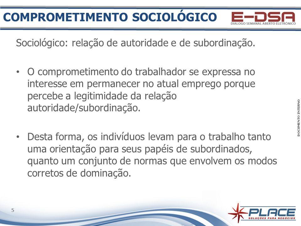 DOCUMENTO INTERNO 6 6 Comportamental: manutenção de determinadas condutas e de coerência entre seu comportamento e as suas atitudes.