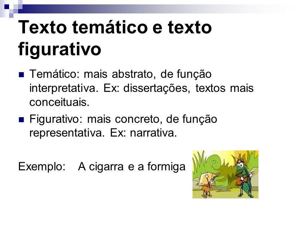 Texto temático e texto figurativo Temático: mais abstrato, de função interpretativa. Ex: dissertações, textos mais conceituais. Figurativo: mais concr