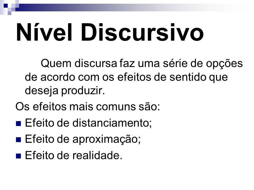 Nível Discursivo Quem discursa faz uma série de opções de acordo com os efeitos de sentido que deseja produzir. Os efeitos mais comuns são: Efeito de