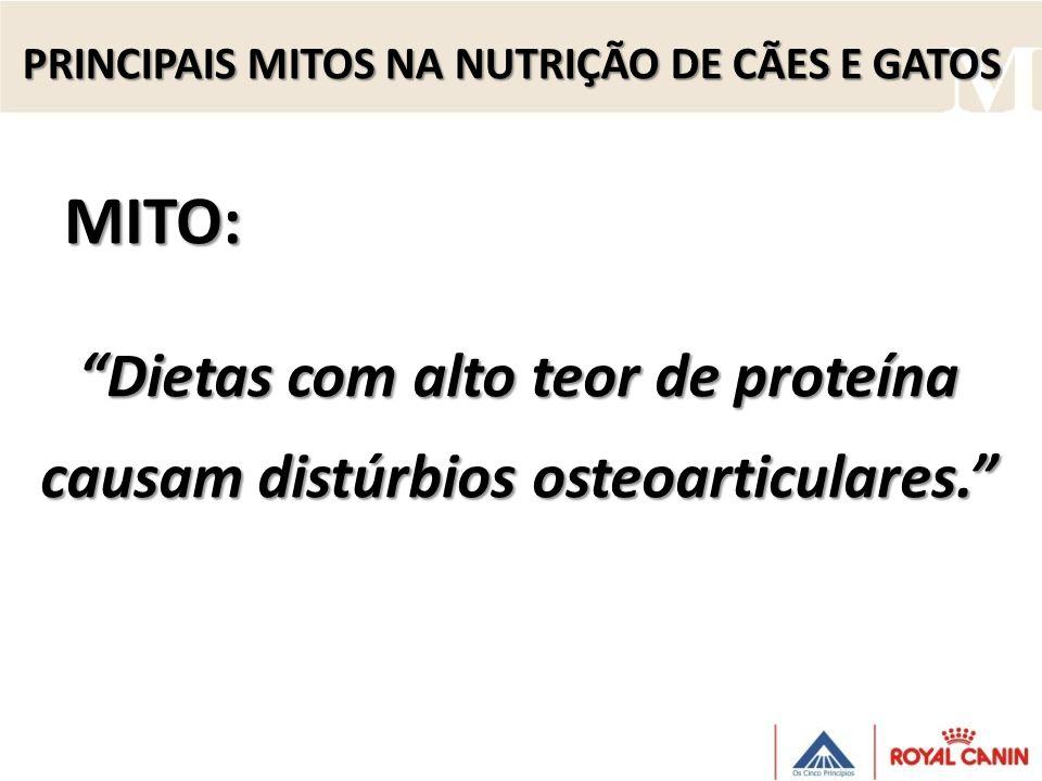 Dietas com alto teor de proteína causam distúrbios osteoarticulares. MITO: PRINCIPAIS MITOS NA NUTRIÇÃO DE CÃES E GATOS