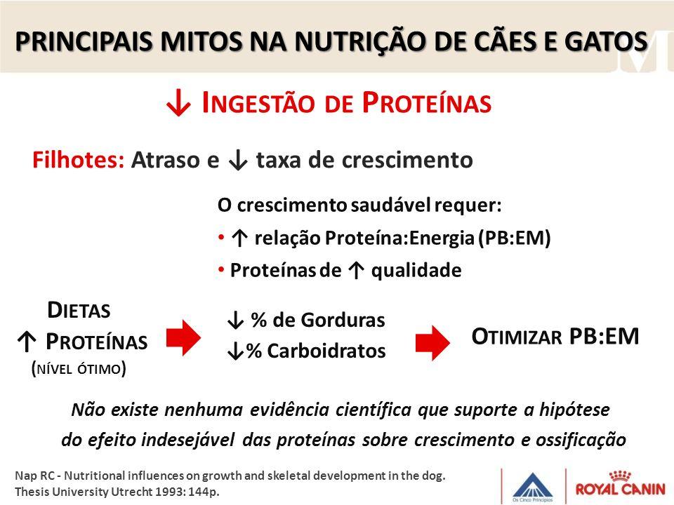 I NGESTÃO DE P ROTEÍNAS D IETAS P ROTEÍNAS ( NÍVEL ÓTIMO ) % de Gorduras % Carboidratos O TIMIZAR PB:EM Filhotes: Atraso e taxa de crescimento O cresc