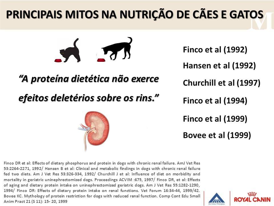 PRINCIPAIS MITOS NA NUTRIÇÃO DE CÃES E GATOS A proteína dietética não exerce efeitos deletérios sobre os rins. Finco DR et al: Effects of dietary phos