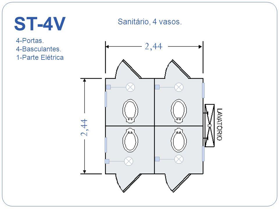 ST-2V 1,50 2,44 Sanitário, 2 vasos. 2-Portas. 2-Basculantes. 1-Parte Elétrica