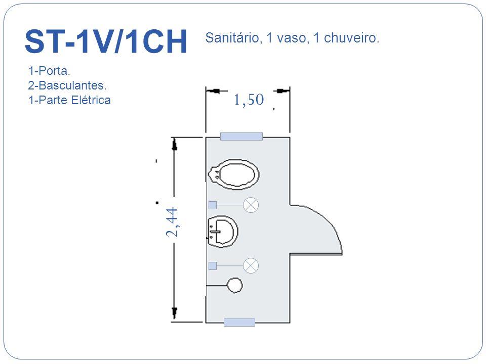 ST-5V/4M 5,00 2,44 Sanitário, 5 vasos, 4 Mictórios. 6-Portas. 3-Basculantes. 1-Parte Elétrica
