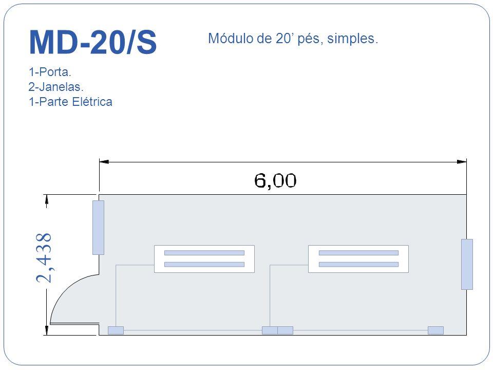 MD-14/CB 4,50 2,438 Módulo de 14 pés, com banheiro. 1-Porta. 1-Janela. 1-Parte Elétrica
