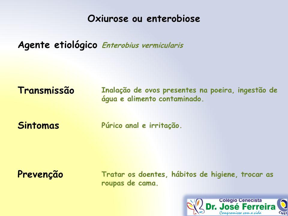 Transmissão Sintomas Prevenção Agente etiológico Oxiurose ou enterobiose